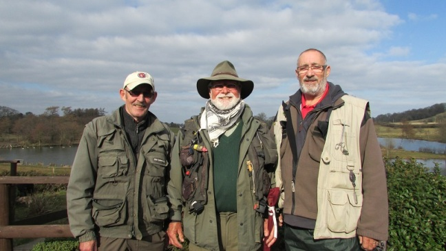 Cwm Hedd Troutmasters fish off winners. Left to right - Keith Cox (3rd), Ken Pascoe (1st), Mike James (2nd) - Copy